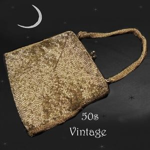 50s Gold Beaded Purse